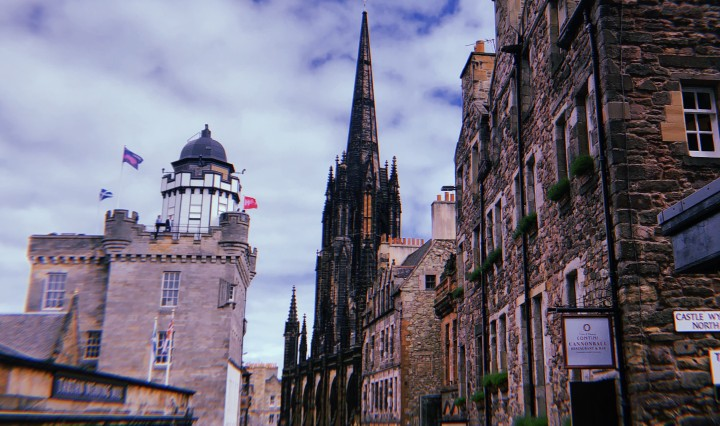A photo looking down the Royal Mile showing stone buildings and gothic architecture.