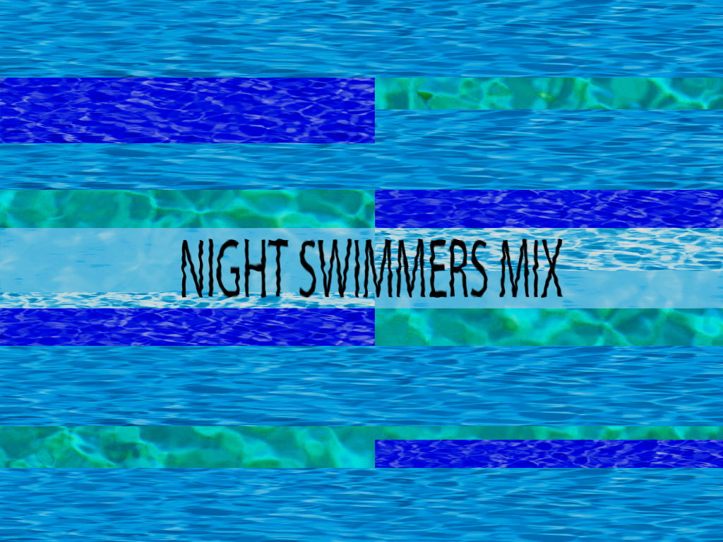 "The header photo is the text ""Night Swimmers"" on top of different blue hues of reflected water."