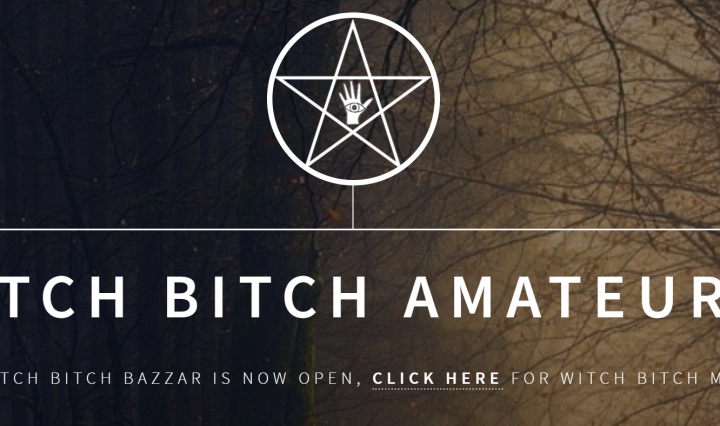 "The title of the podcast, ""The Witch Bitch Amateur Hour,"" in front of a dark forest backdrop. Above the title is a five-sided star with a drawing of a hand inside of it. In the palm of the hand in an eye."