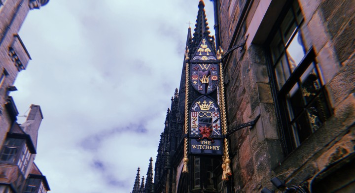 A photo of The Witchery's ornate sign.