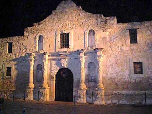 Photo of the top of the Alamo from below.