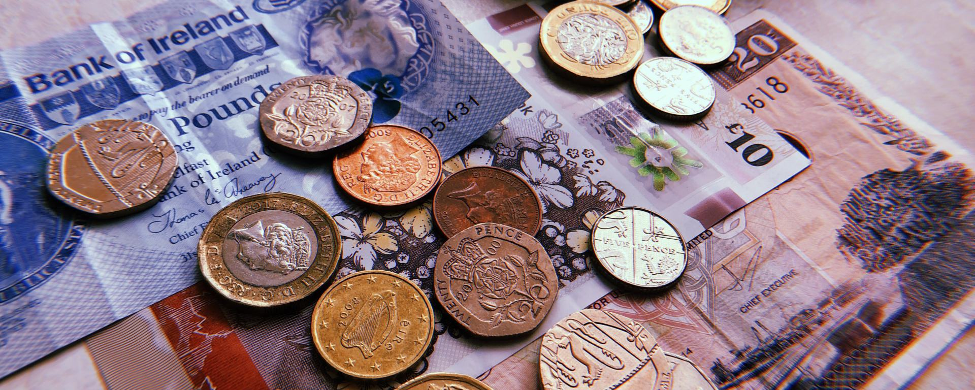 Banknotes and coins from Northern Ireland.