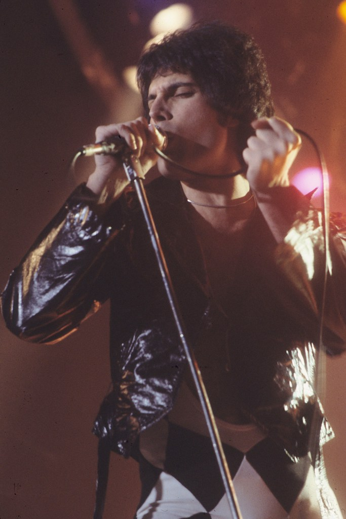 Freddie Mercury performing at a concert in November 1978, wearing his iconic black and white checkered bodysuit.