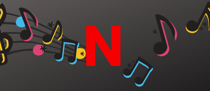 "A grey background with a red ""N"" in the center. There is a squiggly music staff with different colored notes on it to the left of the ""N,"" and single colorful notes to the right."