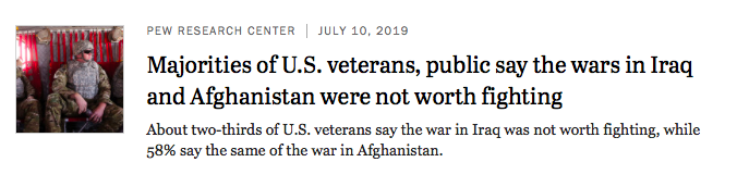"""A screenshot of a story by Pew Research Center, """"Majorities of U.S. veterans, public say the wars in Iraq and Afghanistan were not worth fighting."""""""
