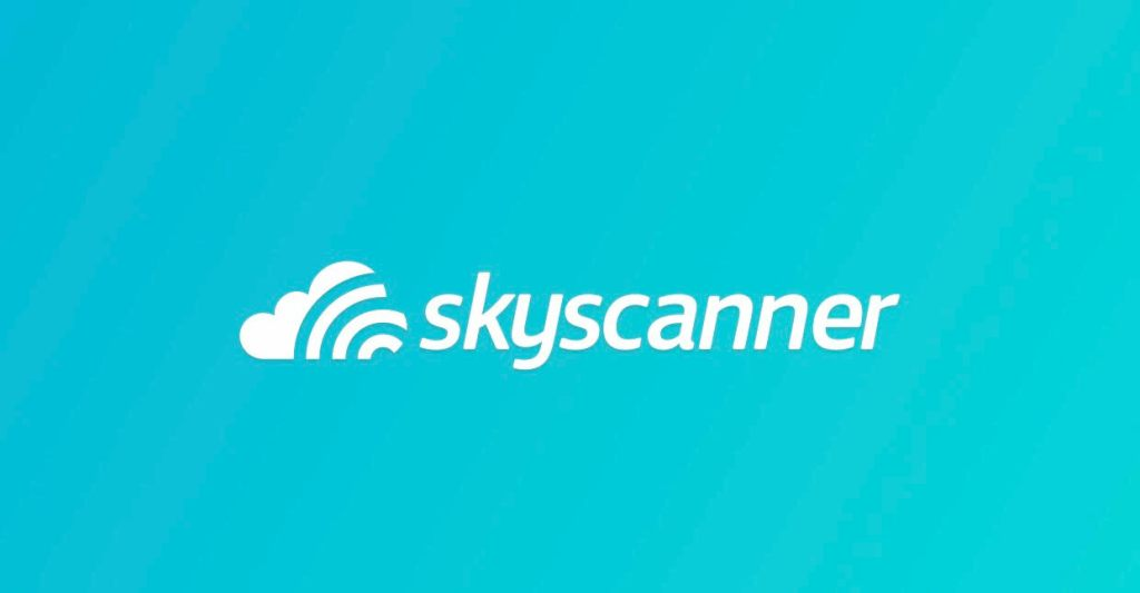 A screenshot of the logo from Skyscanner, a website that compares flight prices to get you the best deal.