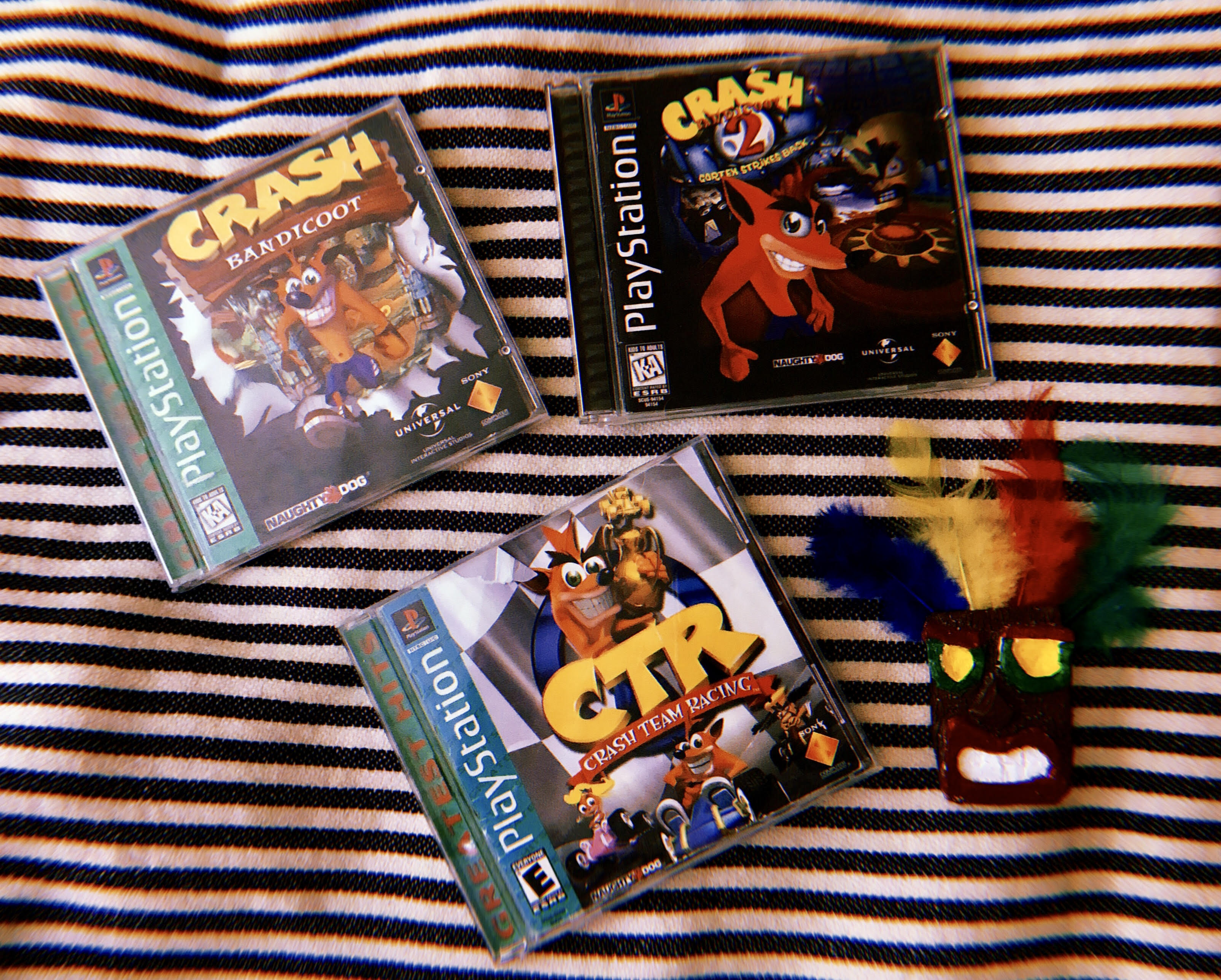 Crash Bandicoot, Cortex Strikes Back and Crash Team Racing.
