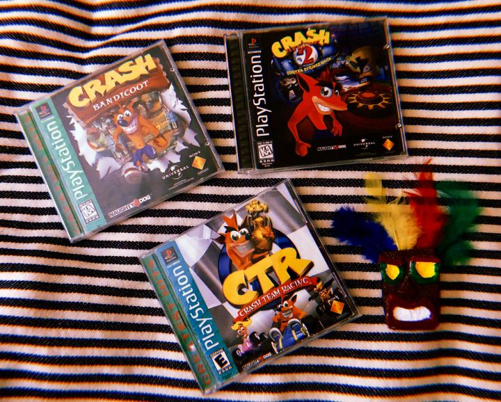 Crash Bandicoot, Cortex Strikes Back and Crash Team Racing.