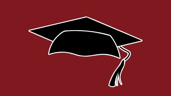 Maroon background with a black graduation cap with a white outline.