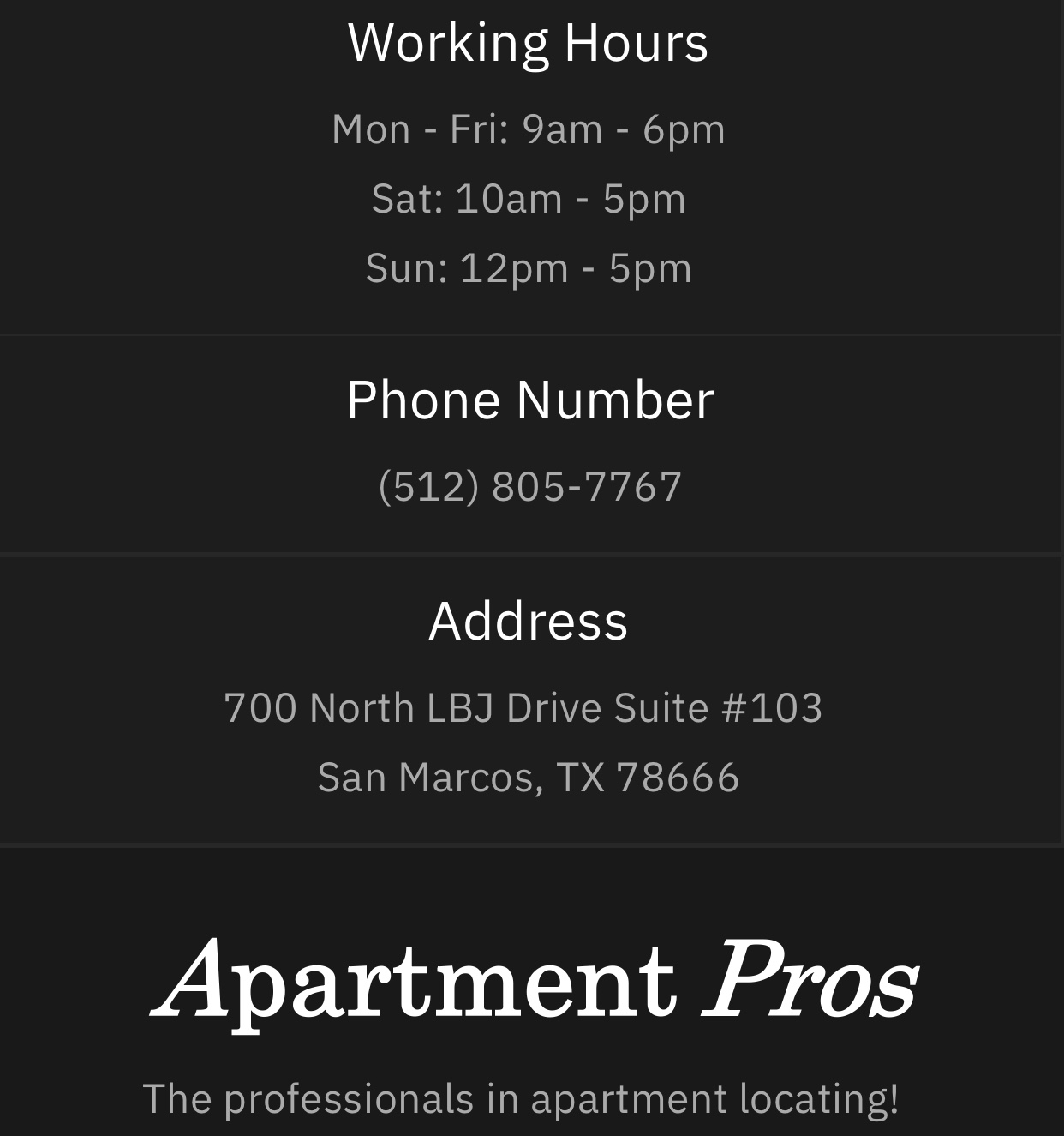 A screenshot from the Apartment Pros website listing their location, hours and phone number