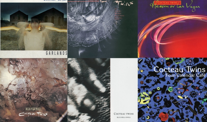 A collage of six albums made by Cocteau Twins from 1982-1990