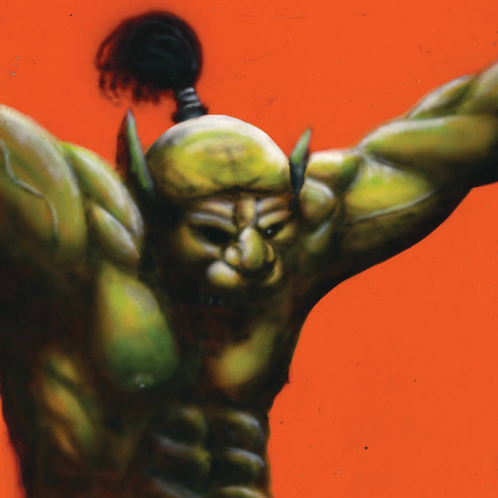 The album is of an airbrushed green demon from the waist up. The background is orange.