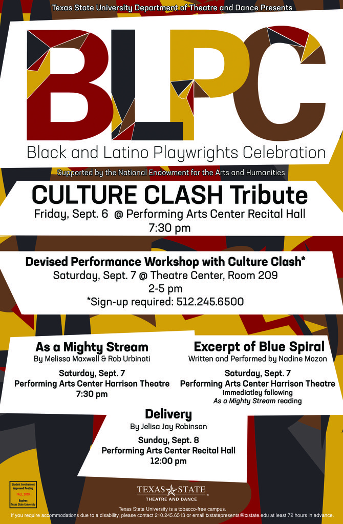 BLPC poster in black, maroon, and gold with information about Culture Clash events.