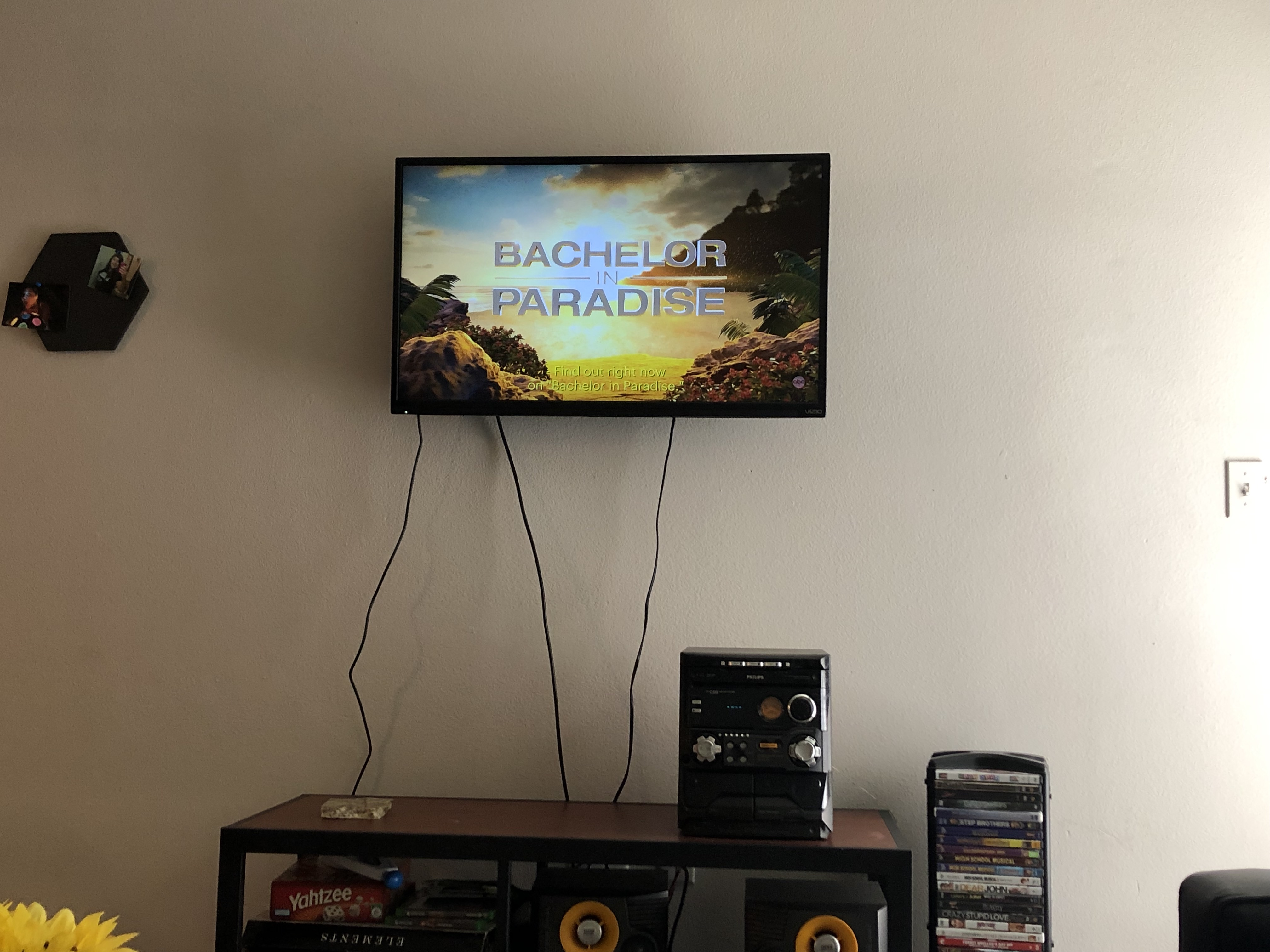 TV screen has the Bachelor in Paradise title screen. There is a coffee table with a stereo and a DVD stand.