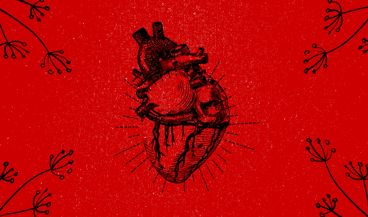 A human heart outlined in black with a rusty red background while having flowers on each end of the picture