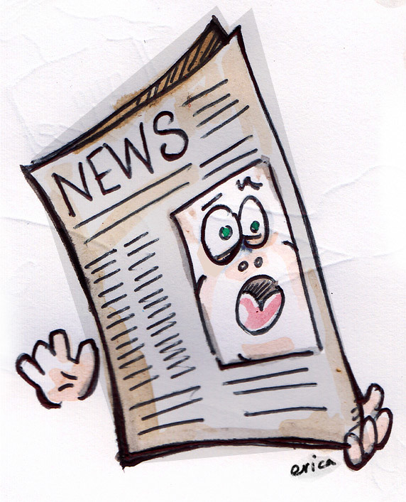 An animated newspaper with two hands and a face that looks scared and alarmed.