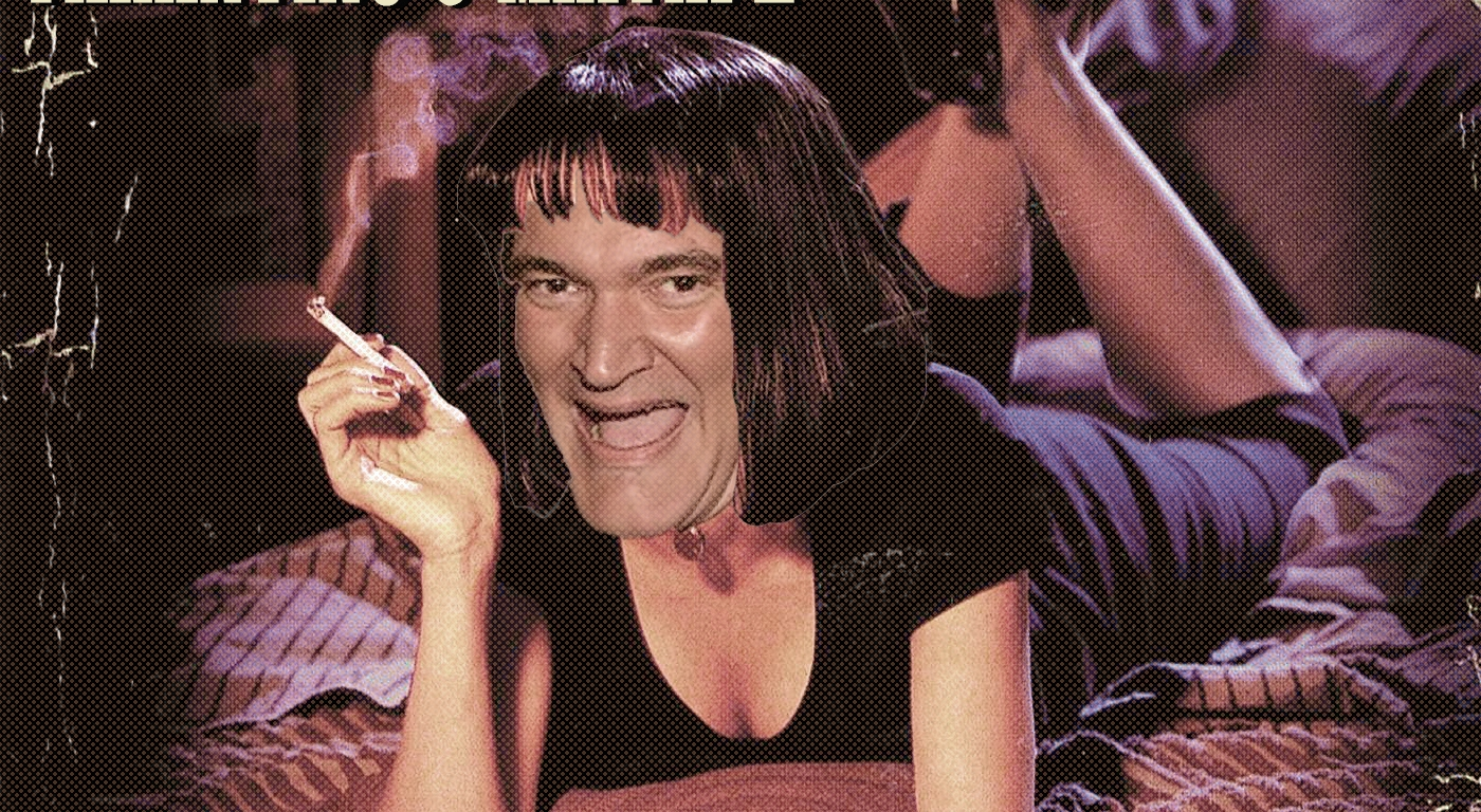 The picture is the album cover to the Pulp Fiction soundtrack with Uma Thurman laying on a bed with a cigarette, except her face is obviously photoshopped and replaced with Quentin Tarantino's.