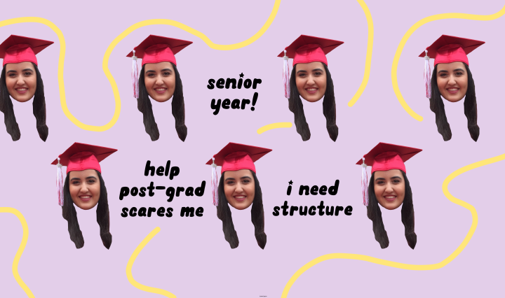 An edit of my face in a graduation cap with small captions and squiggles surrounding them.