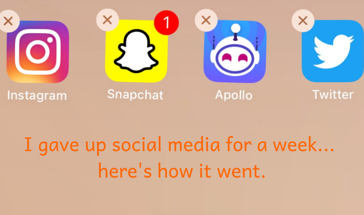 "A screenshot of four social media apps with the ""x"" in the corner of the apps ready to be deleted. The apps from left to right are Instagram, Snapchat, Reddit Apollo, and Twitter. Under the image is the text, ""I deleted social media for a week… Here's how it went."""