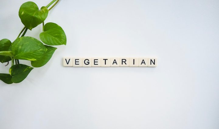"Small tiles spelling out the word ""vegetarian"" with a leafy green plant in the corner."