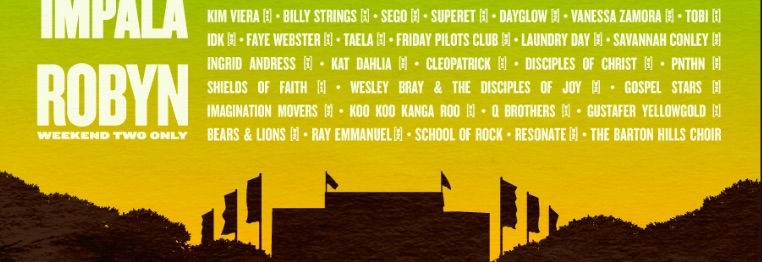 The image depicts the text of artists on the bottom rows of the Austin City Limits line-up.