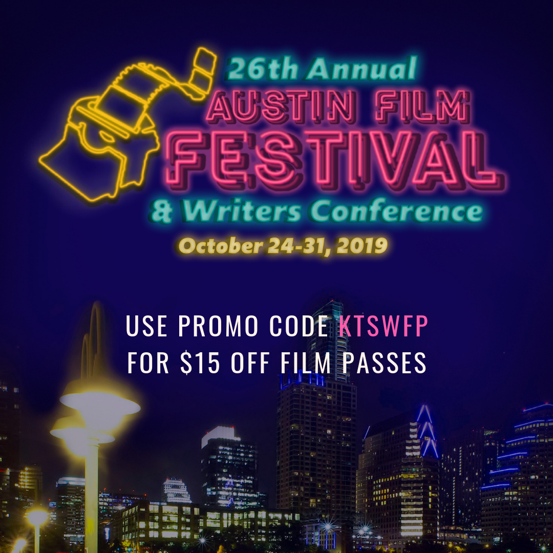 "A flyer for the 26th Annual Austin Film Festival and Writers Conference. It is violet colored with the Austin skyline in the background. The text says,"" 26th Annual Austin Film Festival and Writers Conference. October 24-31, 2019. Use promo code K-T-S-W-F-P for $15 off film passes."""