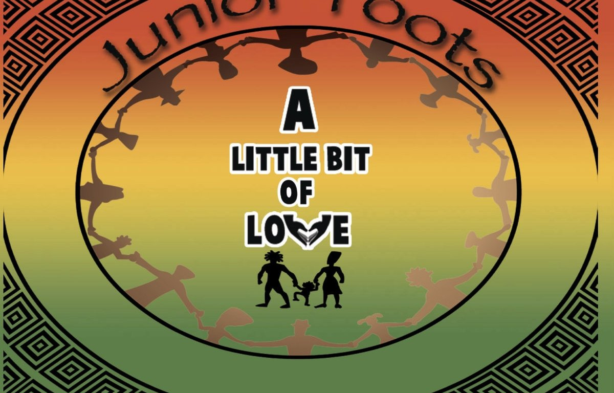 The album features African-inspired patterns that circle around a group of people holding hands with a red, green, and yellow background, representing the colors of Jamaica. In the center stands a three-member family, also holding hands.