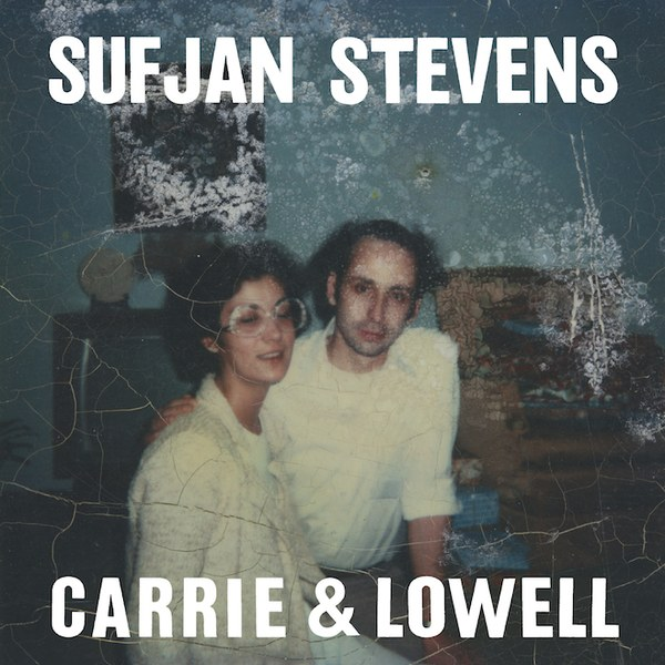 "A couple standing next to each other in a dark room with grainy and scratched filter over it, with the words ""Sufjan Stevens"" and ""Carrie & Lowell"" on it."