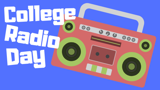 "A graphic of a red and green radio with white words that read ""College Radio Day"""
