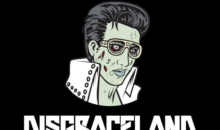 The image depicts Elvis Presley as a green zombie, wearing a beaded white jacket and gold glasses. The name Disgraceland is placed below Elvis in capitalized text.