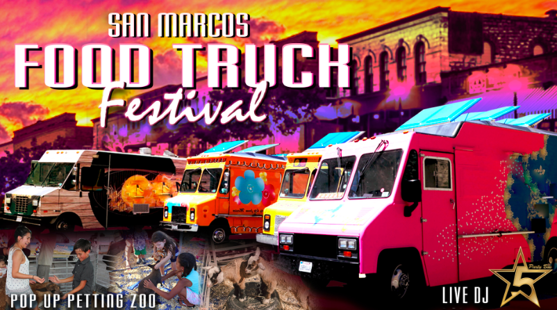 Colorful poster for San Marcos Food Festival. It has food trucks lined up.