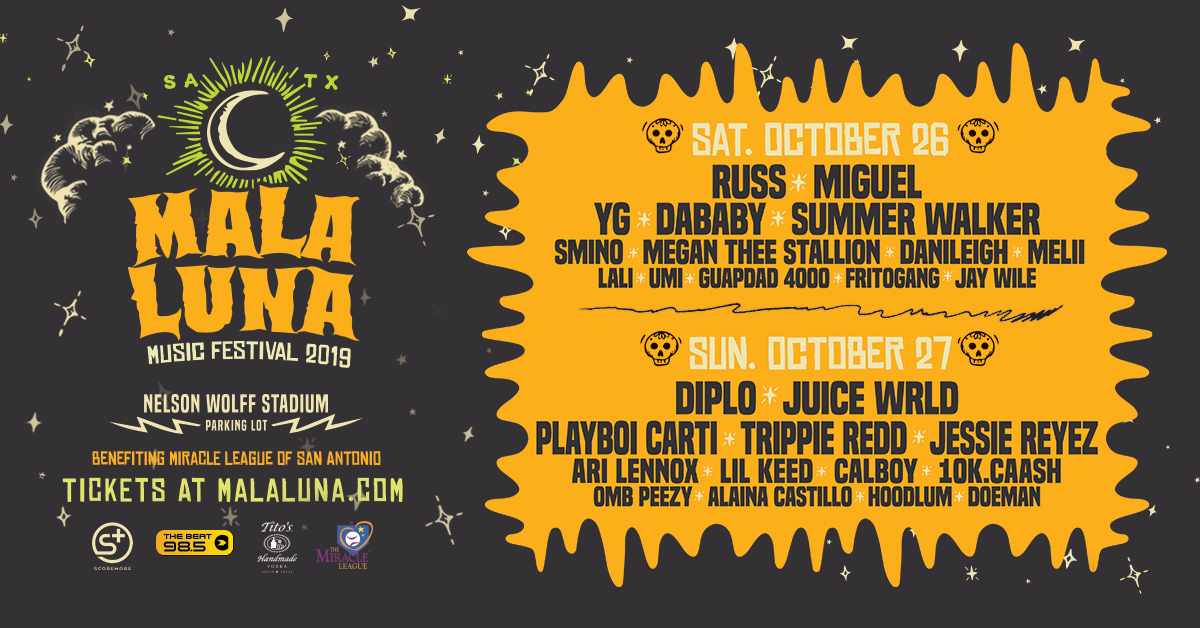 Mala Luna Festival promotional poster featuring a moon and names of performers at the two-day festival.