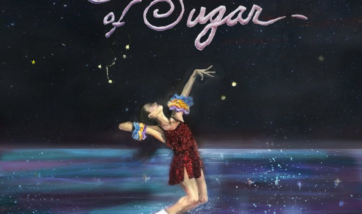 "The album cover is a painting of a figure skater skating in what appears to be a galaxy with ""House of Sugar"" written at the top."