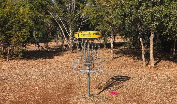 A Disc Golf cage that has a disc very close by.