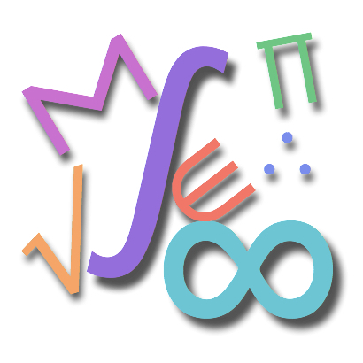 An image containing several mathematical symbols in varying colors