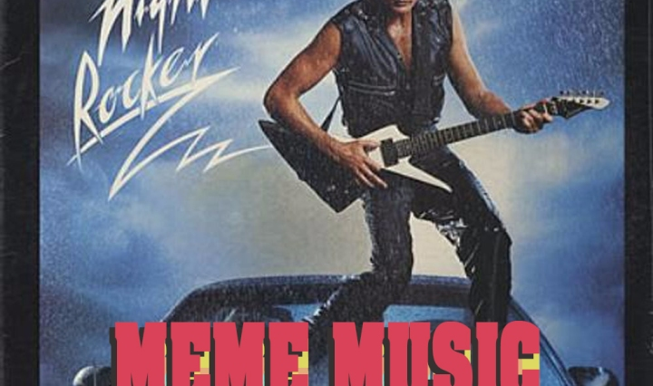 "The header photo is David Hasselhoff's Night Rocker album, him standing on the hood of a car at night playing an electric guitar with the title in different colors ""meme music"" at his feet."