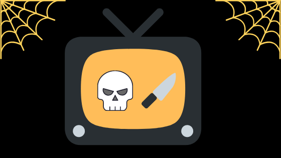 Tv screen with a skull and knife with cobwebs in background