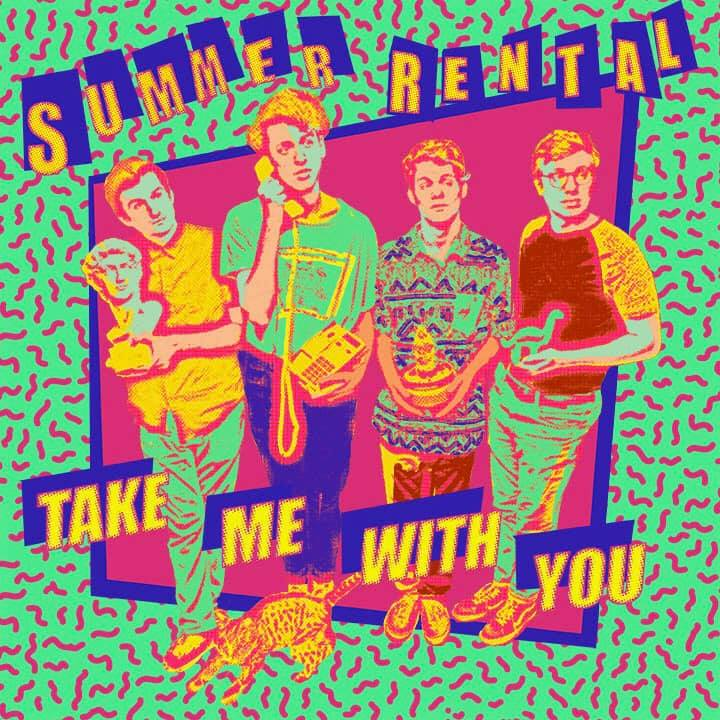 "The album cover to ""Take Me With You"" features eccentric shapes, colors, and patterns. A cartoonized version of the 4 members is overlaid against a background of bright colors."