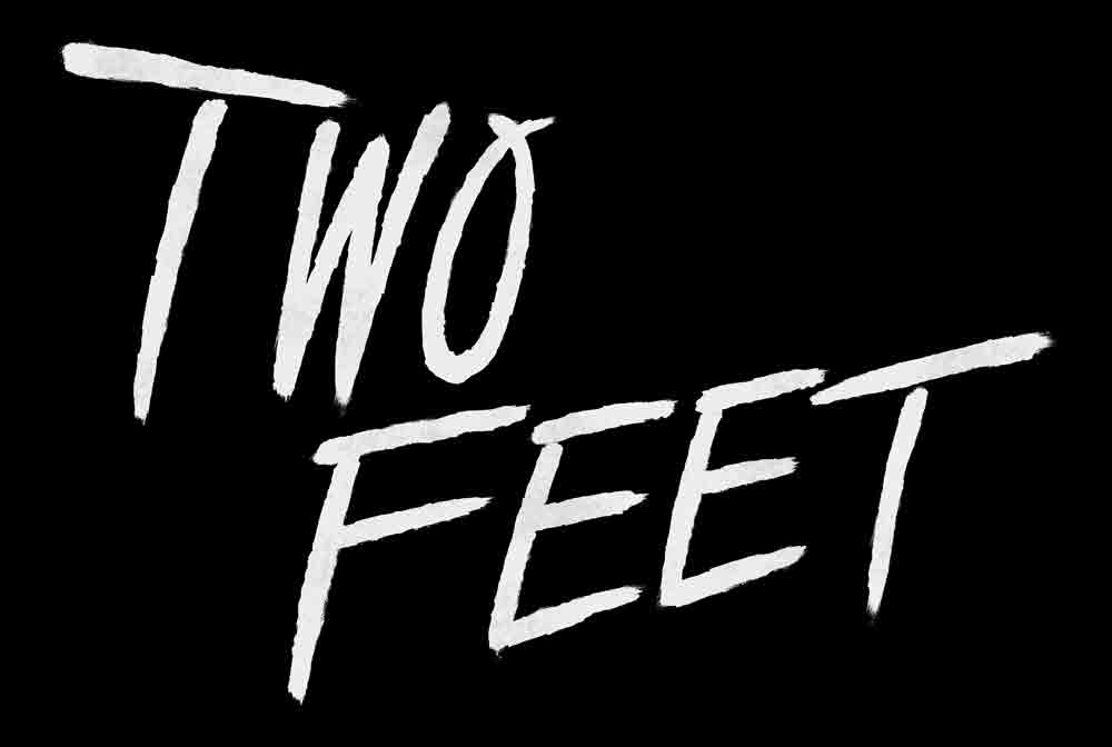 "Black background with the words ""Two Feet"" written in white"