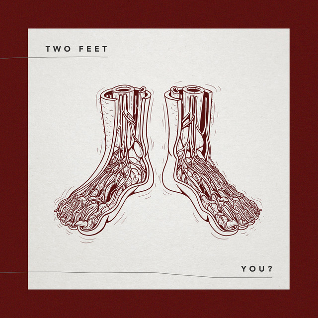 A maroon and white illustration of two feet, showing the inside anatomy of the feet.
