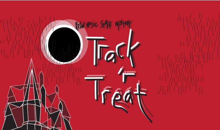 "A blurry, eclipsed moon with the phrase ""Music Staff Mixtape: Track 'r Treat"" on a blood red background with the rooftops of a haunted house in the bottom left corner."