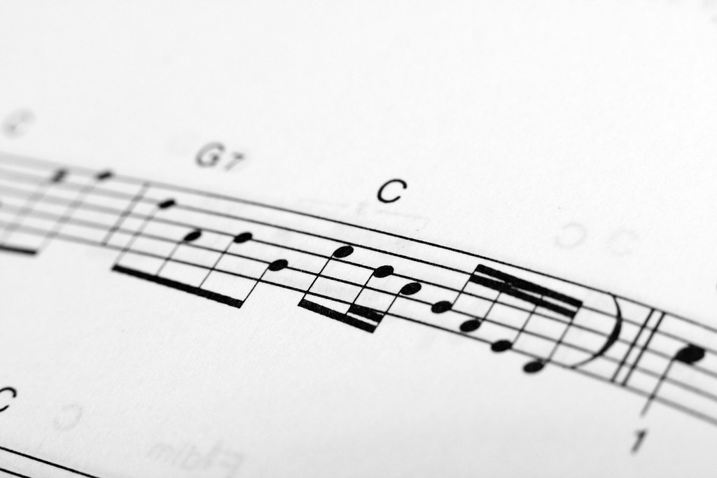 Black musical notes across a white page