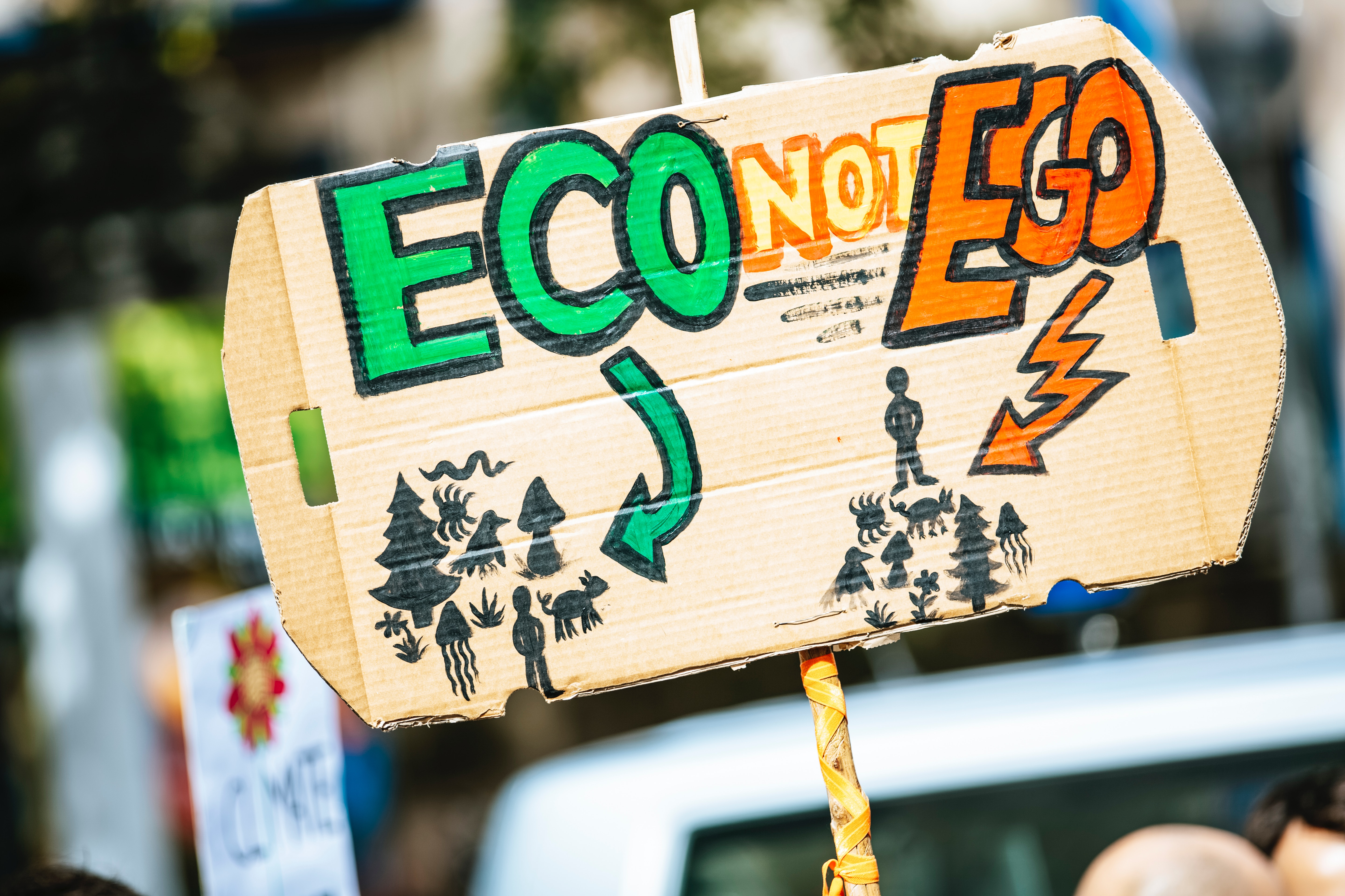 """A cardboard sign with the phrase """"Eco not ego"""" painted on it"""