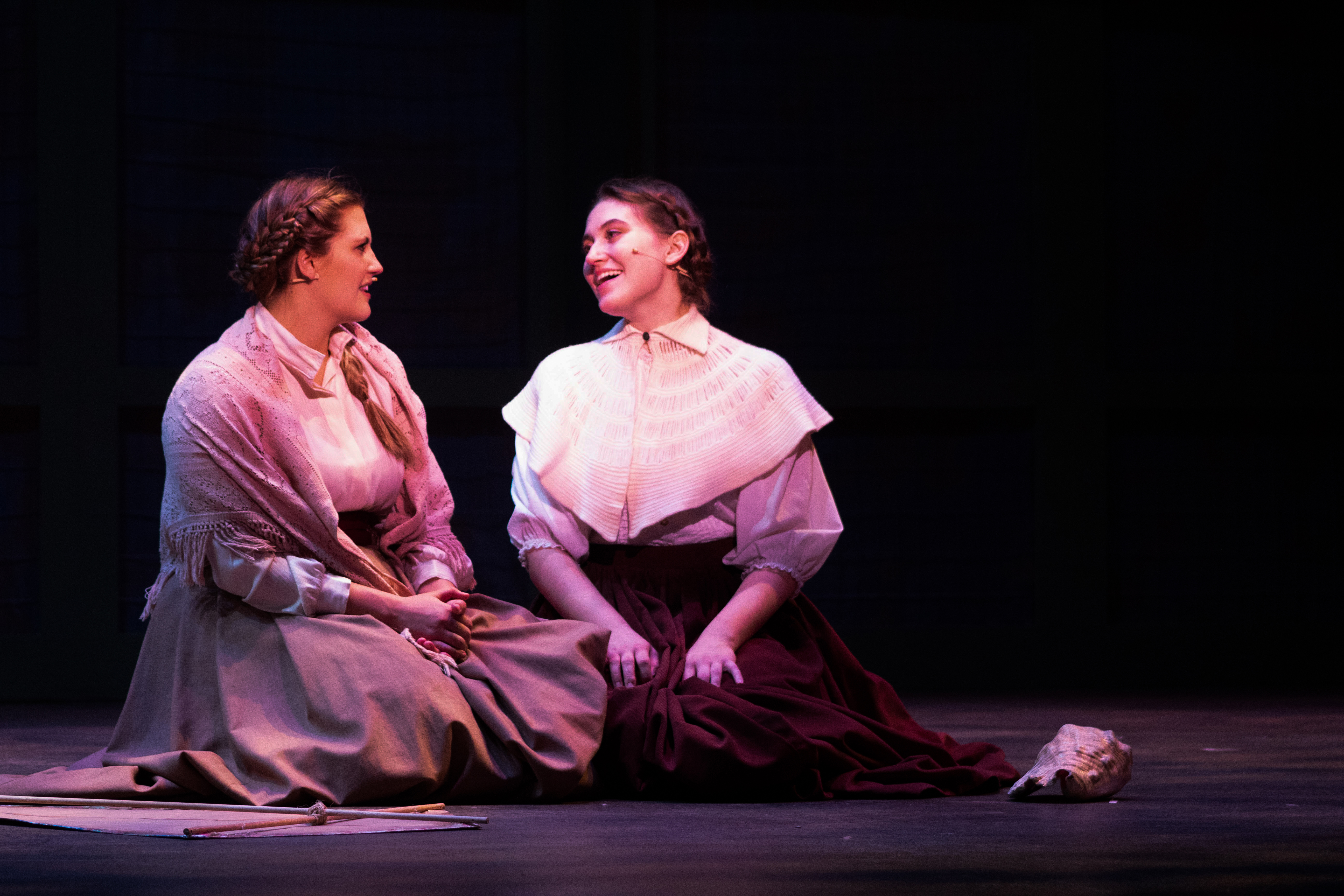 Bella Coppola and Emily Edwards in rehearsal for Texas State's Little Women, the Broadway Musical.