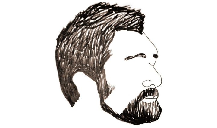 Black and white drawing of a man with a beard, with no eyes.