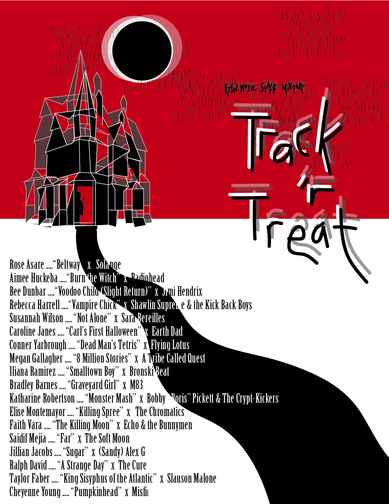 "A red, black and white themed landscape of a shadowy, geometric haunted house  on the horizon underneath an eclipsing moon with the phrase ""KTSW Music Staff Mixtape: Track 'r Treat"" and the names of the music journalist and the songs they each chose for the mixtape aligned left"