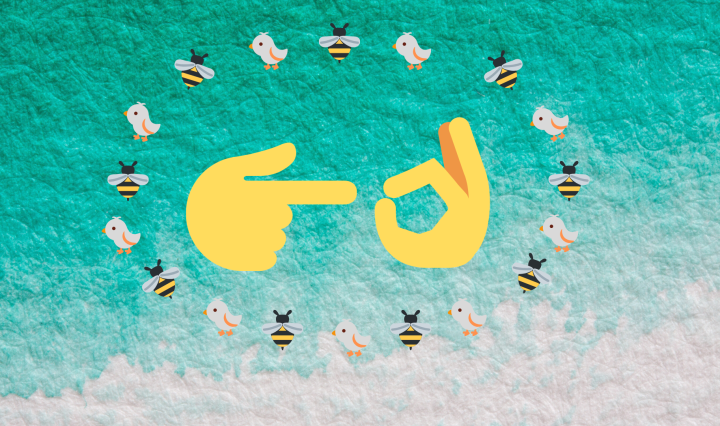 "Two yellow hands make a ""sexual gesture"" sign by pointing to an ok hand sign surrounded by a circle of birds and bees. All on a fading blue background."