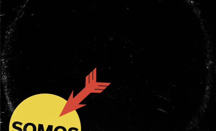 A red arrow sticks out of a yellow circle on a black background, paying homage to the Anti Nazi League logo.