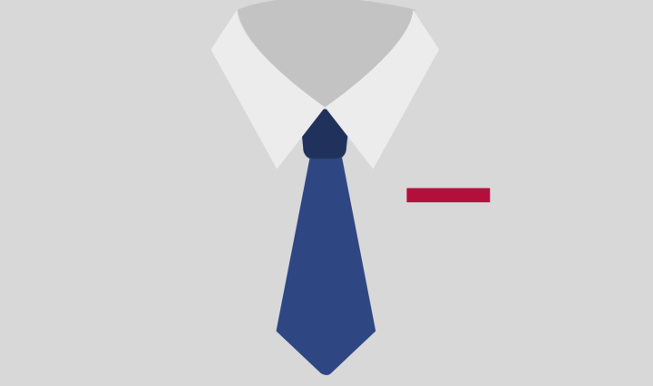 Gray background with a illustratrated tie and collar. The collar is white and the tie is blue and the pocket square is red.