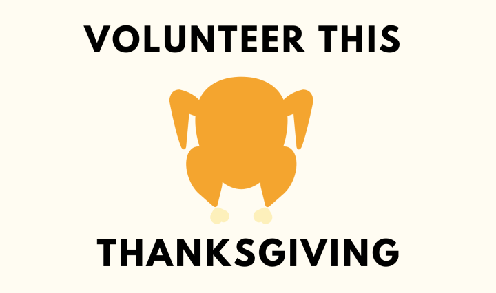 "A white background with the text, ""Volunteer this Thanksgiving."" there is a turkey in the middle."